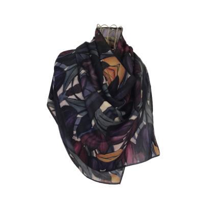 Dark Tulips - Silk/Wool Shawl.